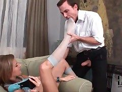 He worships stocking clad hands of hot chick