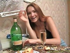 Winebibber young Russian beauty alongside black bra