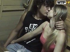 Blonde gets the brush mouth destroyed by dudes meat stick