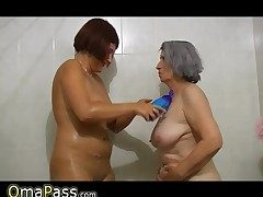 BBW gray chubby Granny with old Mature woman in tub