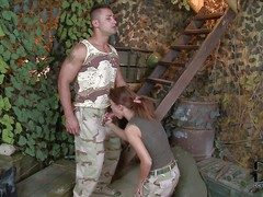 Redhead hottie Denise enjoys in oustandingly fiend relating to her soldier