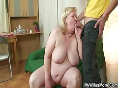 Meaty granny is pounded by her son on law