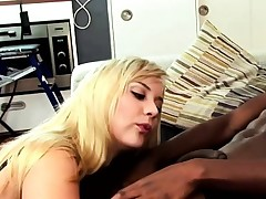 This lovely blonde can't get enough of his meaty ebony cock and