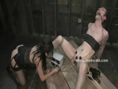 Beggar wrapped and held prisoner used like a sex toy in female domination sex video involving bondage expert